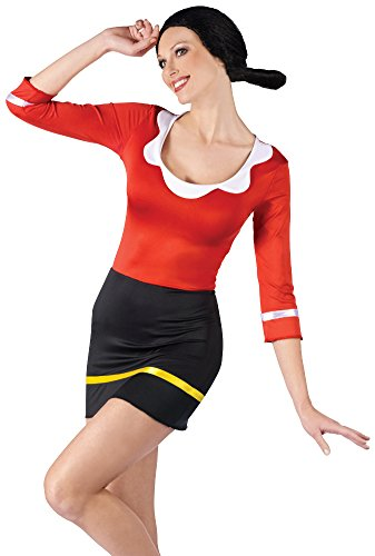 Women's Popeye Sexy Olive Oyl Dress And Wig Costume Small-Medium 2-8