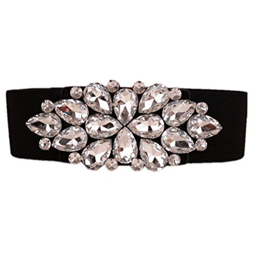 - Dorchid Women Rhinestone Belt Crystal Elastic Waist Floral Cummerbund for Dress Whtie S