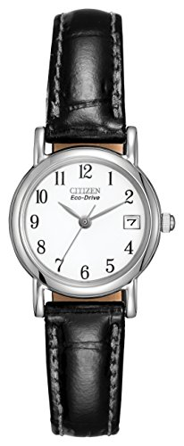 Citizen Women's Eco-Drive Watch with White Dial Analogue Display and Black Leather Strap EW1270-06A