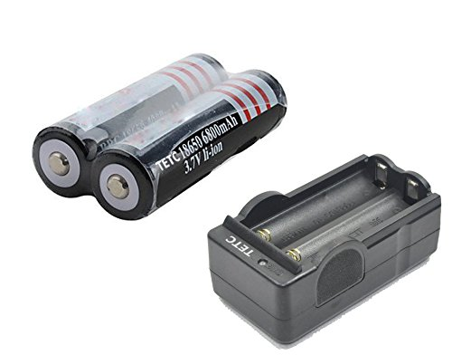 2Pcs TETC 18650 3.7V 6800mAh Lithium Ion Parallel Battery with dual Charger