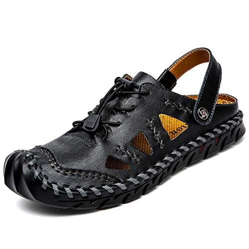(Seaintheson Men's Casual Shoes,Leather Hollow Breathable Slippers Hiking Camping Sandals Fisherman Sport Sandals Black)