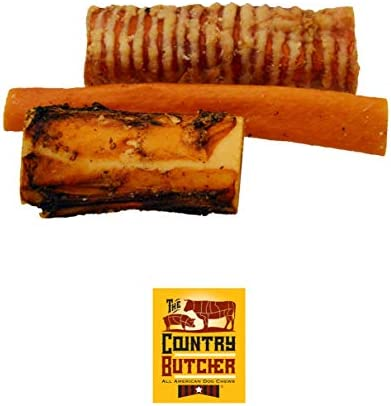 The Country Butcher Natural Longer Lasting Treats, Chews Dog Bones Variety Pack, Made in USA, Beef Trachea Tubes, Meaty Beef Bones Bacon Pork Skin Rolls, for Small, Medium Large Size Dogs