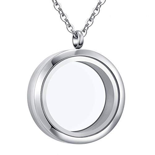 Mesinya Living Memory Floating Locket 316L S.Steel Toughened Glass Locket Necklace W/Chain (30mm-Twist-11mm Thickness)