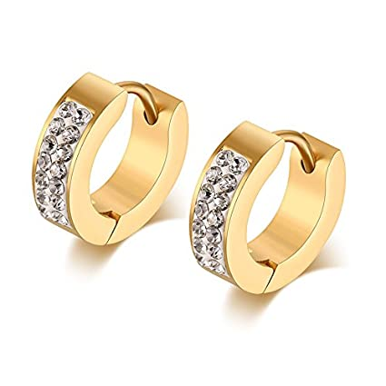 4d8a9e54999e48 Amazon.com: Stainless Steel Womens Mens Hoop Earrings Huggie Earrings CZ  Piercings Hypoallergenic 18G (1pait GOLD): Arts, Crafts & Sewing