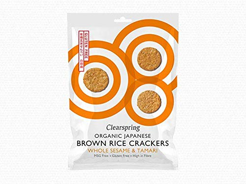 Clearspring Organic Japanese Whole Sesame Brown Rice Crackers 40 g (Pack of 12)
