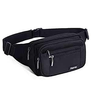 FREETOO Waist Pack Bag for Men/Women, Black Fanny Pack with Adjustable Strap for Outdoor Workout Traveling Casual Running Hiking Cycling