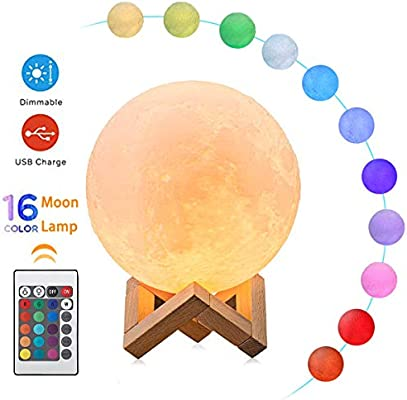 Moon Lamp, ALOVECO 3D Printed 16 Colors RGB Moon Light with Remote Control, Dimmable