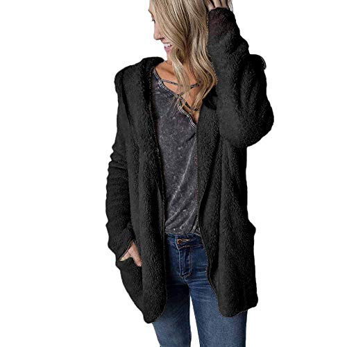 Womens Winter Casual Jacket Coat Hoodie Plush Lapel Cardigan - University Pillow Bow