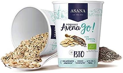 Porridge Ecológico de Avena con Espelta y Chía. Sin Azúcar Añadido. Granos Enteros de Avena y Espelta. Preparación Instantánea. Pack de 8 Unidades de 55 g: Amazon.es: Alimentación y bebidas