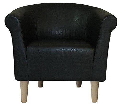 Foxhill Trading savannah-l-black-t Savannah Club Chair, Leatherette Black (Savannah Chair Club)