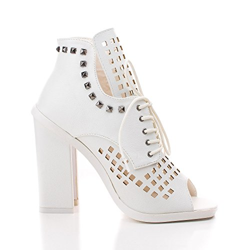 Iverson09 White Studded Peep Toe Lace Up Laser Cut Out Ankle Dress (Laser Cut Out Dress)