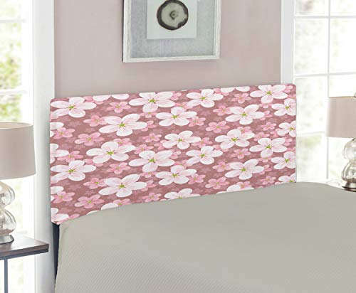 Twin Size Headboard Cherry (Ambesonne Flower Headboard for Twin Size Bed, Cherry Blossoms Petal Plant Lovely Cartoon Children Sakura Floret Season, Upholstered Metal Headboard for Bedroom Decor, Dried Rose White Green)