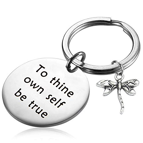 PLITI William Shakespeare Quote Keychain to Thine Own Self Be True Inspirational Encouraging Gift (to Thine Own Self Be True) (To Thine Own Self Be True Quote)