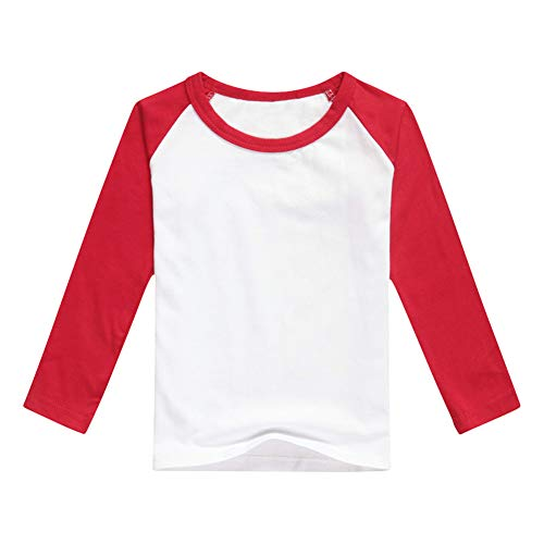 Unisex Kids Raglan Shirts Boys Girls Baseball Long Sleeve T-Shirt Toddler Baby Cotton Tee Tops Little Big Sister Brother Family Matching Crew Neck T Shirt Birthday Casual School Clothes Red 4-5Y ()