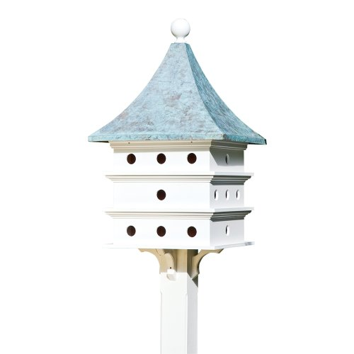 Lazy Hill Farm Designs 43426 Ultimate Martin Bird House White Solid Cellular Vinyl with Blue Verde Copper Roof, 24 Compartments, 23-Inch by 44-Inch