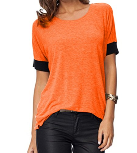 Sarin Mathews Women's Casual Round Neck Loose Fit Short Sleeve T-Shirt Blouse Tops Orange XL ()