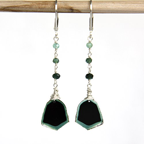 Watermelon Tourmaline Earrings, Blue Green Tourmaline Slice Earrings - Sterling Silver