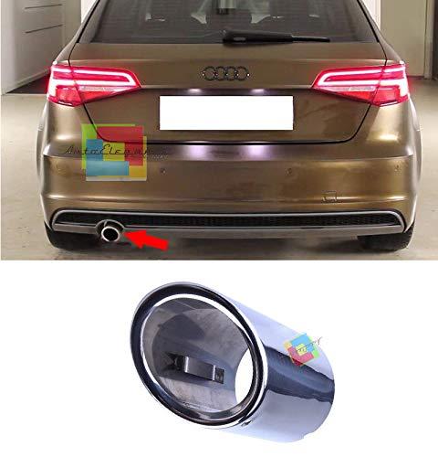 Audi A3 8V 2012+ TERMINALE di Scarico Singolo Cromato Acciaio Inox Look SLINE AUTOSRLS