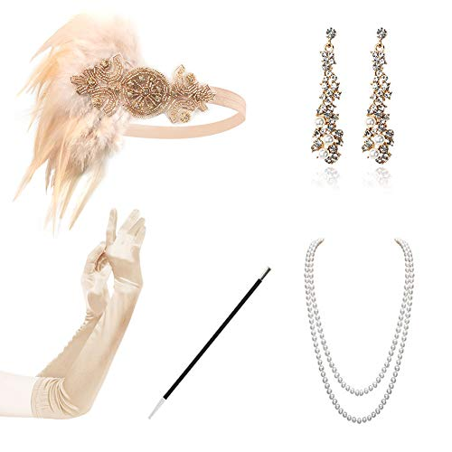 HAMIST 1920s Accessories Set Flapper Costume for Women Headband Gloves Cigarette Holder Necklace Bracelets (Champagne-A) (Headpiece Set)