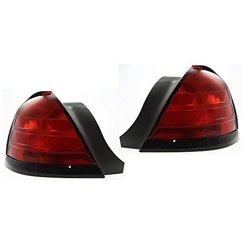 Evan-Fischer EVA15672055635 Tail Light for Ford Crown Victoria 00-11 Set of 2 RH and LH Lens and Housing W/2 Bulbs W/Black Molding Left Right