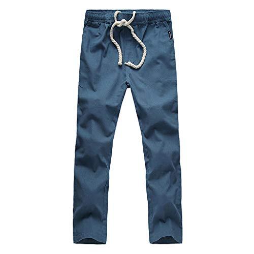 ZEFOTIM Pants for Men New Summer Fashion Cotton and Hemp Nine-Cent Pants Fashion Casual Trousers(Navy,XXXXX-Large) ()
