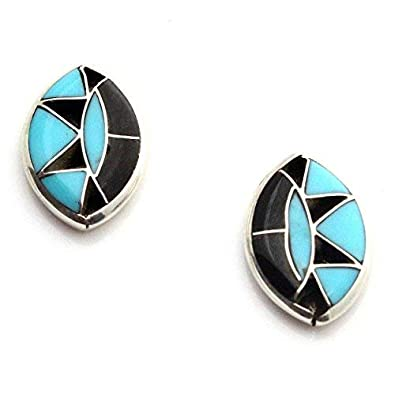 f37ffb153 Image Unavailable. Image not available for. Color: Zuni Turquoise & Jet Sterling  Silver Post Earrings
