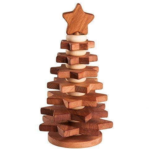 Stacking toy Christmas tree, covered with linseed oil, baby toy