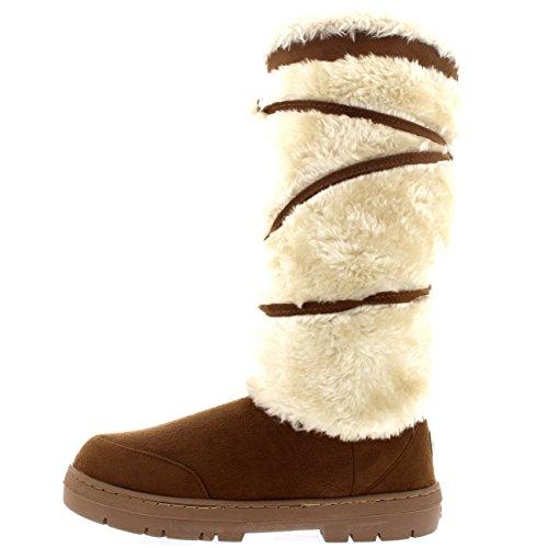 Mujer Pom Pom De Altura Invierno Forrada De Piel Lluvia Zapato Botas Tan