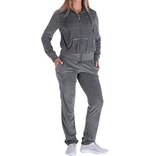 (Evrimas Women's 2 Piece Outfits Velvet Zip Hoodie Sweatshirt & Sweatpants Sweatsuits and Velour Tracksuit Sets Jogging Suit)