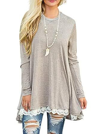 Sanifer Women Lace Long Sleeve Tunic Top Blouse (Small, Khaki)