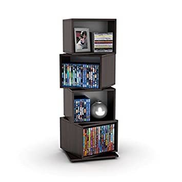 Media Storage Tower for CDs DVDs Features Four Rotating Cubes, Adjustable Shelves, Space-saving Storage and Non-marring Rubber Feet, Wood Grain Finish, Perfect for Home s Interior
