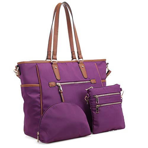 Set Satchel 3 Shoulder Large Handbag Pieces Purse Women Tote 1 3 Nylon Purple Bag in qRx8ZIwf4