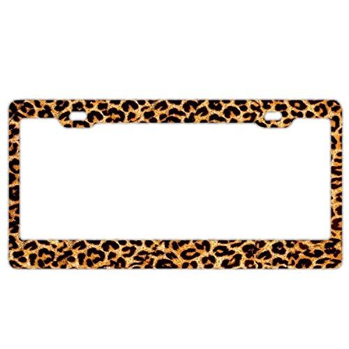 (Funky Leopard Print Animal Print Black Metal License Plate Cover Holder for Car Front Back Decor)