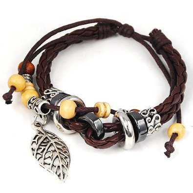 niceeshop(TM) Leaf Pendant Beads PU Leather Bracelet Adjustable Wirstband,Brown