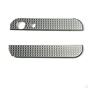Zehui New Bling Crystal Metal Top+Bottom Back Cover Replacement For iPhone 5 Silver