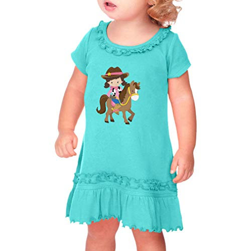 Cute Rascals Cowgirl Brown Horse Brown Taped Neck Toddler Short Sleeve Girl Ruffle Cotton Sunflower Dress - Caribbean Blue, 3T ()