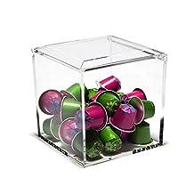 Nespresso Cube Plexiglass Capsule Pod Holder, Clear Dispenser, Storage Solution for Nespresso Machines - Fits 50 Capsules