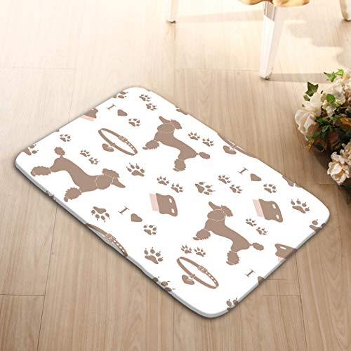 zexuandiy Washable Fabric Placemats for Dining Room Kitchen Table Decoration 23.6x15.7 Poodle Silhouette Comb Collar Dog Track Poodle -