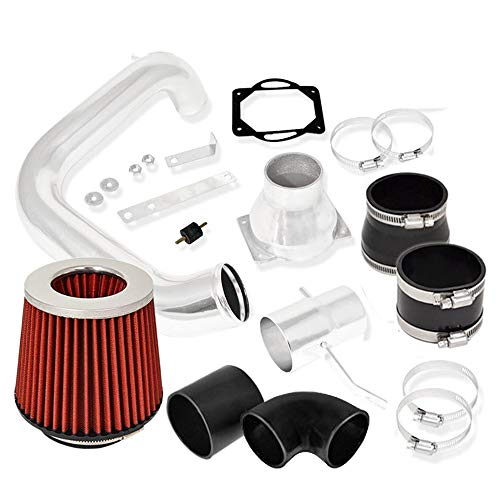 For 2002-2005 Mitsubishi Lancer ES/LS/OZ Rally (2.0L Manual Transmission Only) Aluminum High Flow Cold Air Intake System Polish Pipe with Air Filter Red