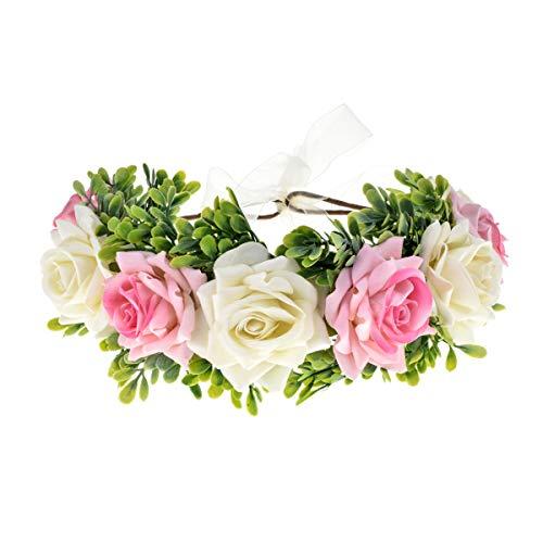 Vividsun Flower Crown Floral Headpiece Festival Wedding Hair Wreath Floral Crown (pink white/leaf)
