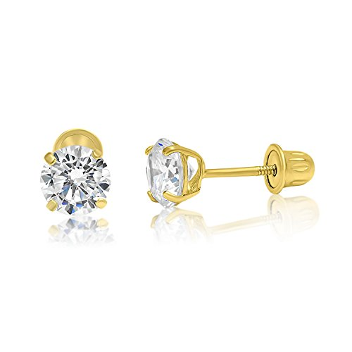 14k Yellow Gold CZ Stud Earrings 5mm