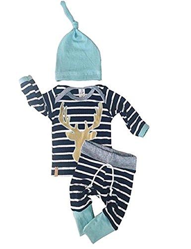 Camo T-shirt Heart White - Newborn Baby Boy Deer Printed Grey Tshirt Top Camouflage Pants Hat 3Pcs (0-3 Month, Navy Blue&White)