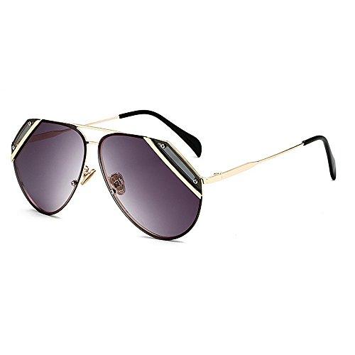 Gray Couleur lentille UV400 Soleil Rétro de Unisexe Vintage Classique Style Lunettes Brown Deux Réfléchissante Protection Tons Yxsd Cadre 1ZTgxw