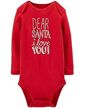 CARTER'S- Baby Boy and Baby Girl - Infant-Toddler-Bodysuit with Slogans-100% Cotton (Newborn, Santa I Love You!)