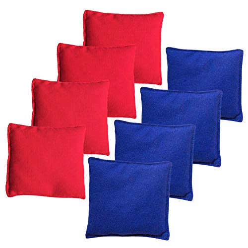 Bean Bag Toss Bags - JMEXSUSS Weather Resistant Standard Corn Hole Bags, Set of 8 Regulation Cornhole Bags for Tossing Game (Red/Blue)