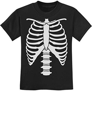 Halloween Skeleton Rib Cage Xray Front and Back Easy Costume Youth Kids T-Shirt X-Large Black (Xray Skeleton Kids Costume)