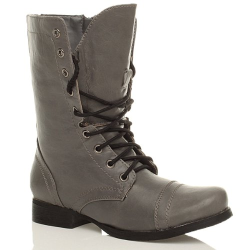 Grey ladies low zip up Ajvani flat combat size army Womens lace boots military ankle heel q48p6x5A