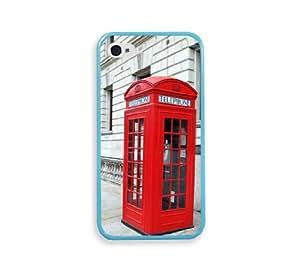 British Phone Booth Aqua Silicon Bumper iPhone 4 Case Fits iPhone 4 & iPhone 4S