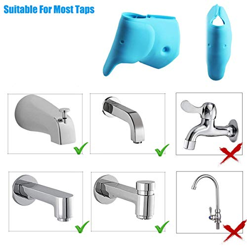 Bath Spout Cover- Bathtub Faucet Cover for Kid Bath Tub Faucet Extender Protector for Baby - Silicone Soft Spout Cover Baby Blue Elephant Child Bathroom Cute Accessories for Bathroom Safety(2pack) by Bath Spout Cover (Image #3)