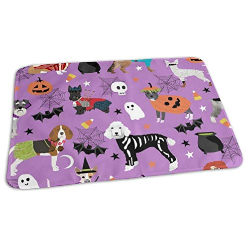 Dogs in Halloween Costumes Dog Breeds Dressed Up Fabric Purple Baby Portable Reusable Changing Pad Mat 19.7x27.5